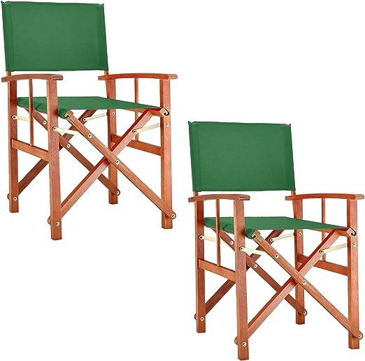 Deuba Set de 2X sillas Plegables Cannes Verde de Madera de eucaliptio y Fundas extraíbles jardín Exterior Interior: Amazon.es: Jardín
