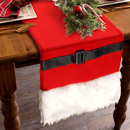 Ourwarm Luxury Faux Fur Christmas Table Runners Santa Belt Winter Table Runner For Christmas Holiday Table Decorations Double Layered Holiday Table
