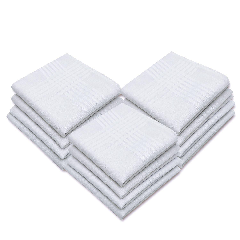 HanKeepA Men's Handkerchiefs 100% Cotton in 60S White Hankies Size 12pcs