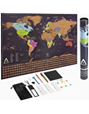 Scratch Off World Map Poster - Tracking Map for Your Adventures, Scratch Off Map with Flags and US States, Large World Map Wall Art, Gift for Travelers with Gift Tubing, by Adroit World
