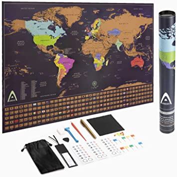 Country Flags 33X23 Inches Wall Map Poster State Names Scratch Off World Map Detailed Map With Boarders Perfect Map For Travelers