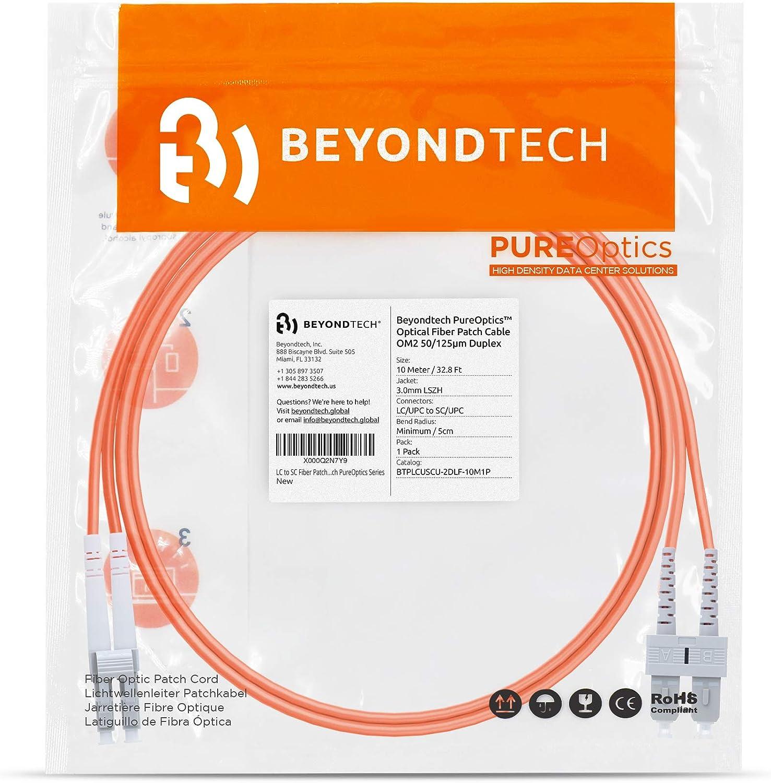 - Latiguillo Doble Fibra /Óptica 50//125um OM2 LSZH Beyondtech PureOptics Cable Series Cable de Fibra /Óptica ST a ST 10M Multimodo Duplex UPC//UPC