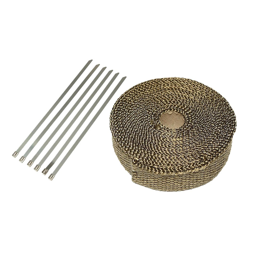 Titanium Exhaust Header Heat Wrap with Stainless Cable Ties , 2.5CM x 7.5M EAGLESTIME