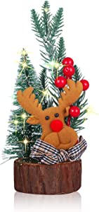 FUNOJOY Mini Christmas Tree Tabletop Decorations Christmas Home Decor Artificial Berries Pine Branches Christmas Party Ornaments