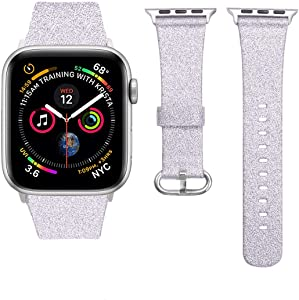 iiteeology Compatible with Apple Watch Band Women Girls, Genuine Leather Sparkly Bling Glitter iWatch Band for Apple Watch SE Series 6 5 4 3 2 1 (Silver 38mm/40mm)