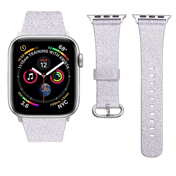 iiteeology Compatible for Apple Watch Band Women Girls, Genuine Leather Sparkly Bling Glitter iWatch Band