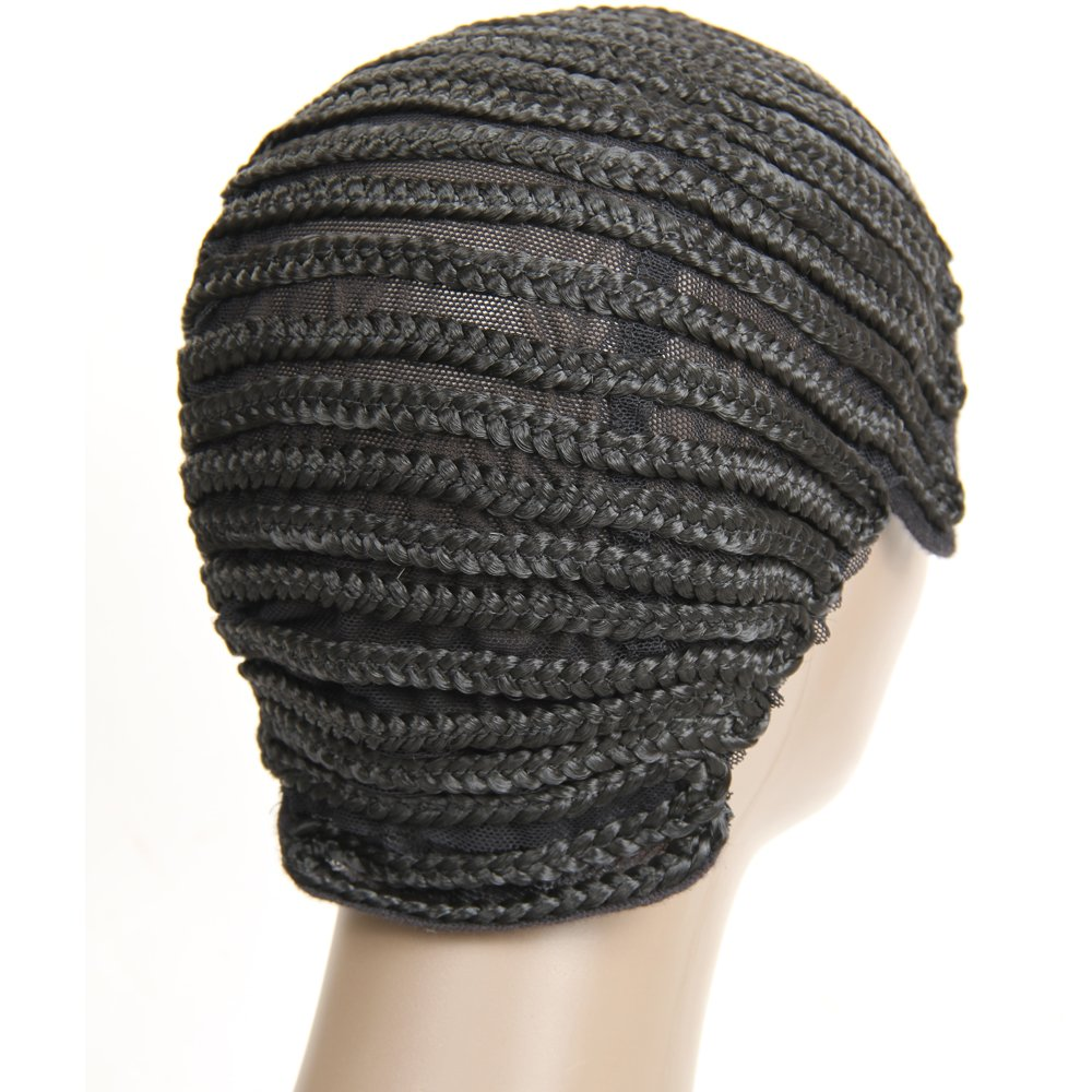 VRHOT (3Pcs/Lot) Braided Wig Cap Cornrow Crochet Weaving Wig Cap for Making Wigs with Combs Synthetic Weave Hair Nets Sew in Adjustable Straps Elastic Net Breathable (3pcs/lot Cornrow Cap) by VRHOT (Image #4)