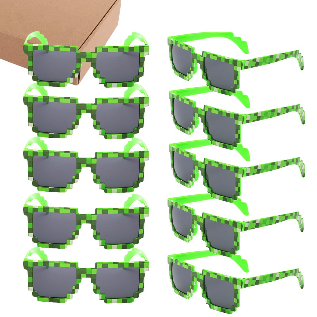 kilofly 10pc 8-Bit Pixel UV Protect Gamer Sunglasses Adult Kids Party Favors KTG346pc10