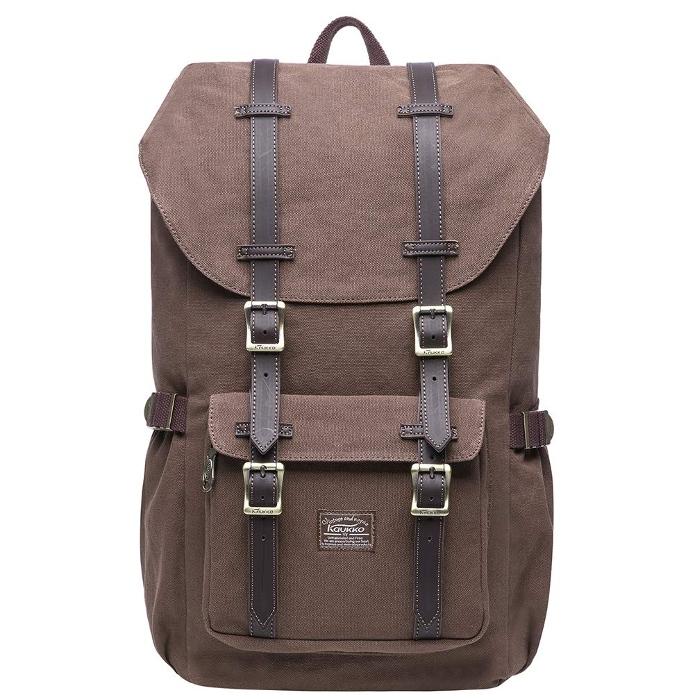 KAUKKO Laptop Outdoor Backpack, Travel Hiking& Camping Rucksack Pack, Casual Large College School Daypack, Shoulder Book Bags Back Fits 15'' Laptop & Tablets (E5-1Canvas Coffee)