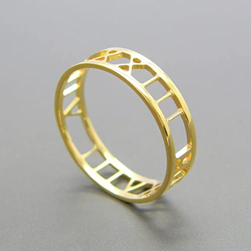 fb0355fb0 Image Unavailable. Image not available for. Color: Roman numeral  Personalized ring Gold Date ...