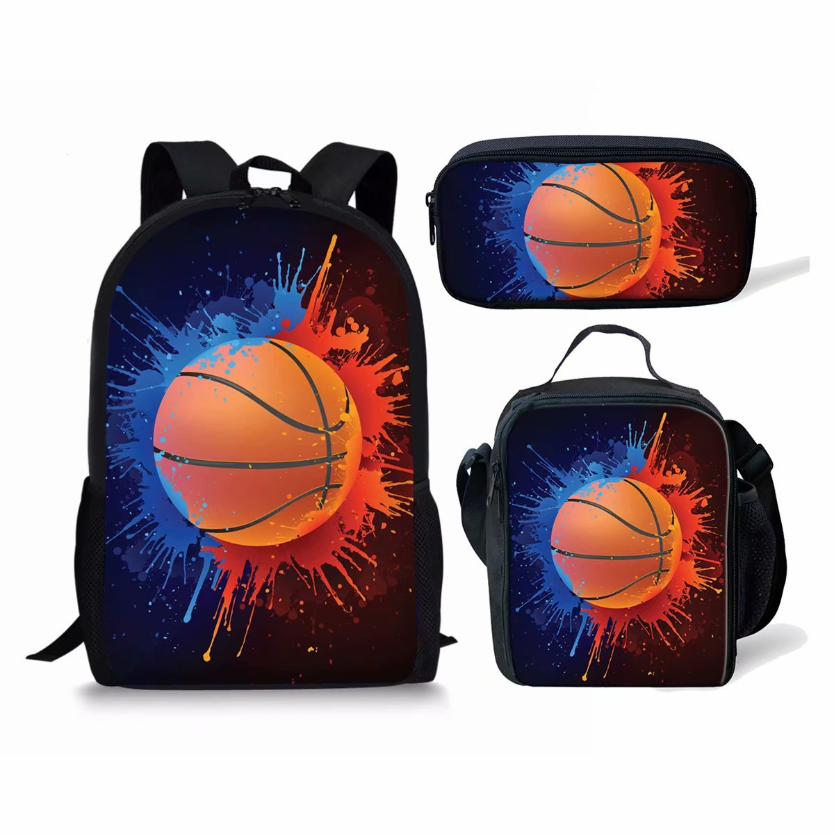 Basketball Print Kids Boy Backpack School Bookbag Lunch Bag Pencil Bag 3 Pieces Set by Mumeson (Image #1)