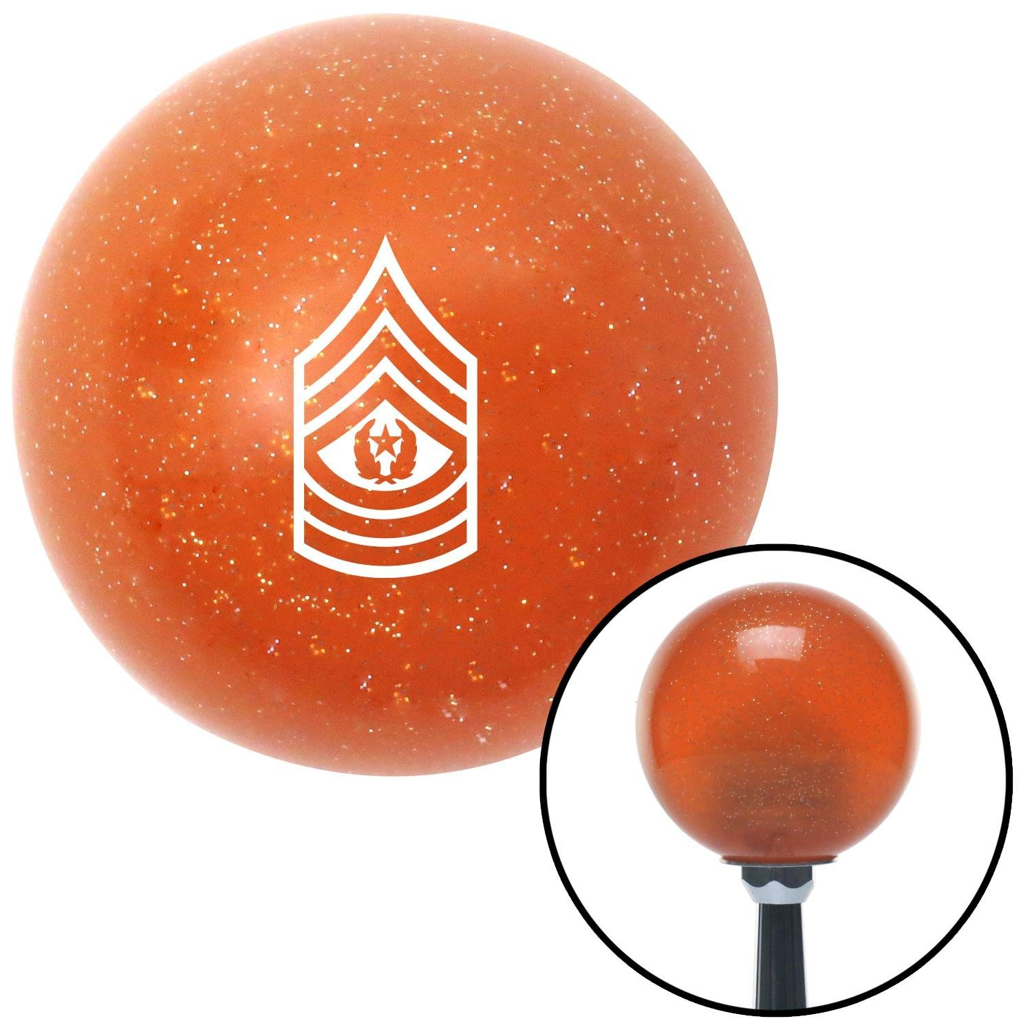 White Command Sergeant Major American Shifter 44370 Orange Metal Flake Shift Knob with 16mm x 1.5 Insert