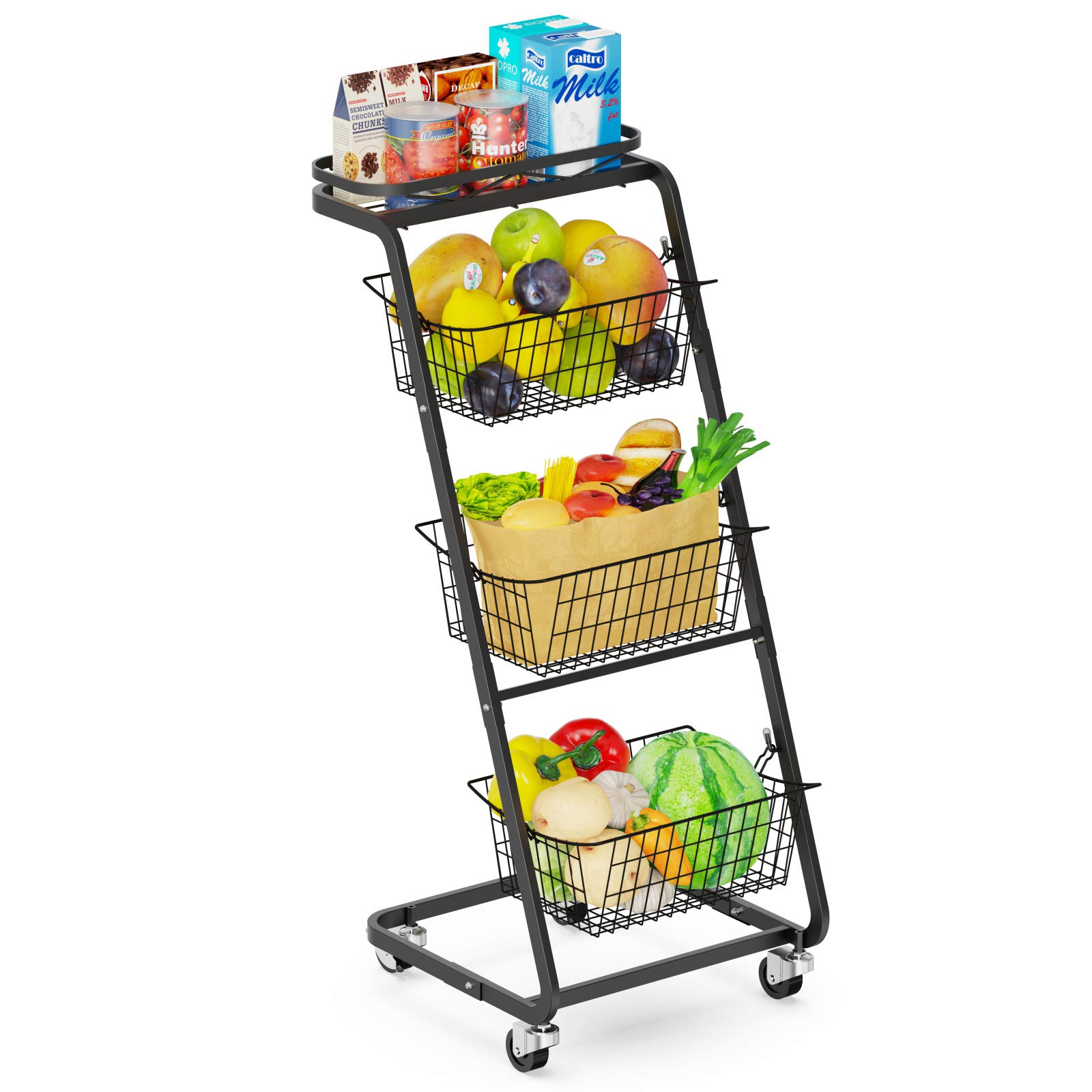 Fruit Basket Veckle 4 Tier Rolling Wire Market Basket Stand with Wheels