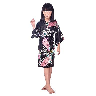 de683c1056 Vogue Forefront Girls  Peacock Flower Print Satin Kimono Robe Dressing Gown