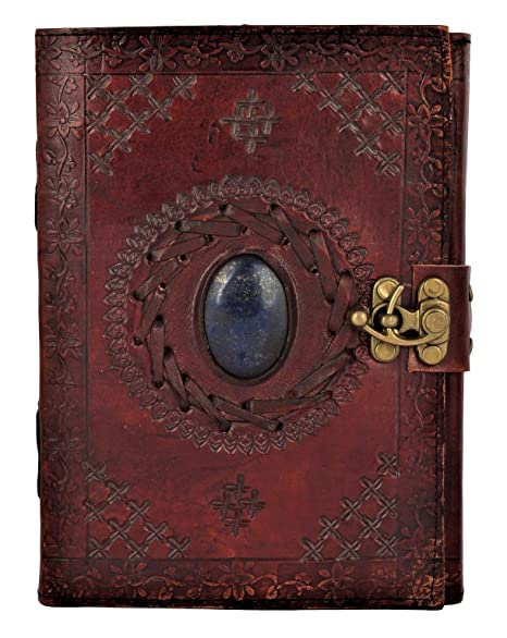 05e1d0e91096 Leather Journal with Semi-Precious Stone & Buckle Closure Leather Diary  Gift for Him Her