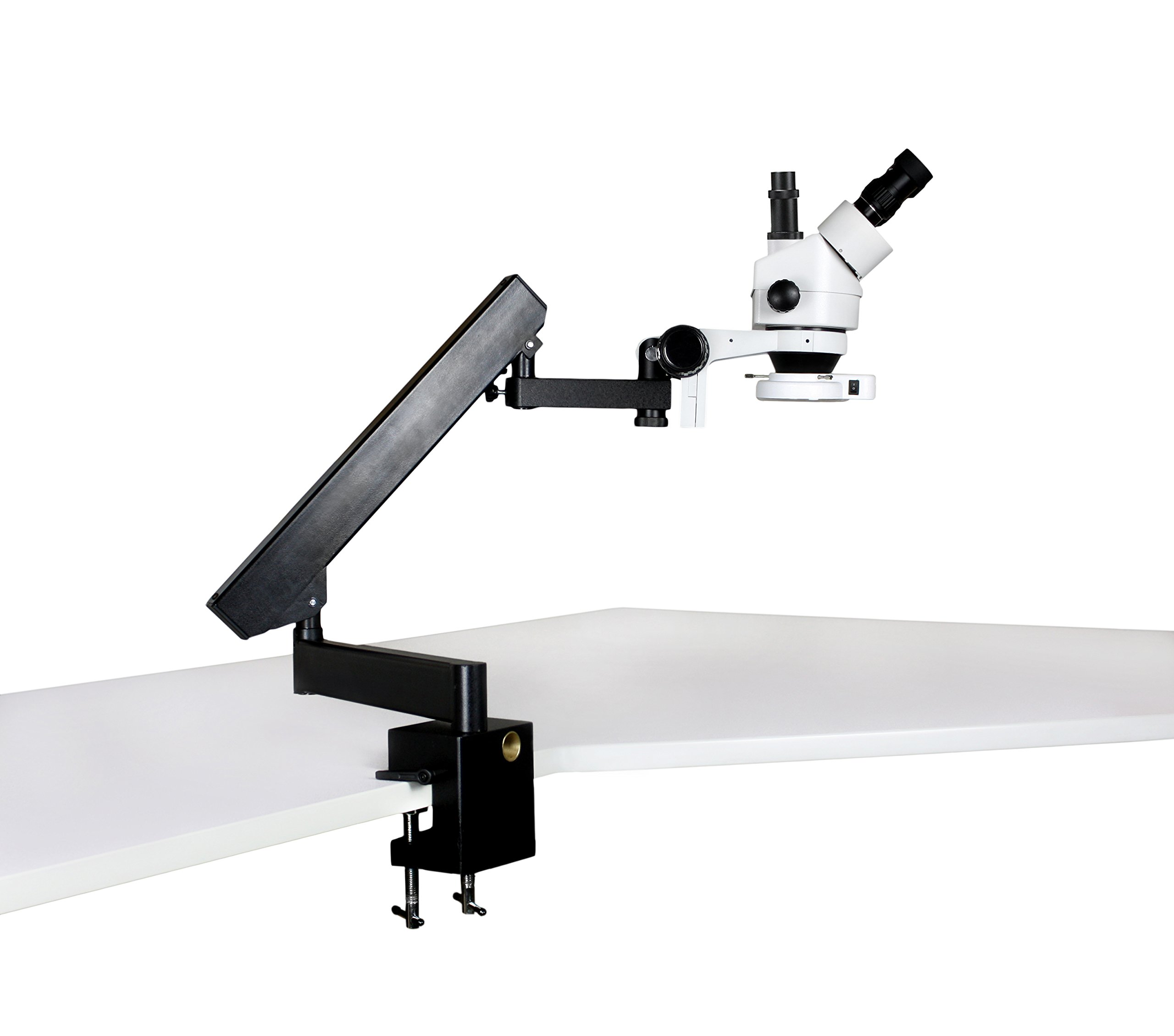 Vision Scientific VS-7F-IFR07 Trinocular Zoom Stereo Microscope, 10x Widefield Eyepiece, 0.7x—4.5x Zoom Range, 7x—45x Magnification Range, Articulating Arm Clamp Stand, 144-LED Ring Light
