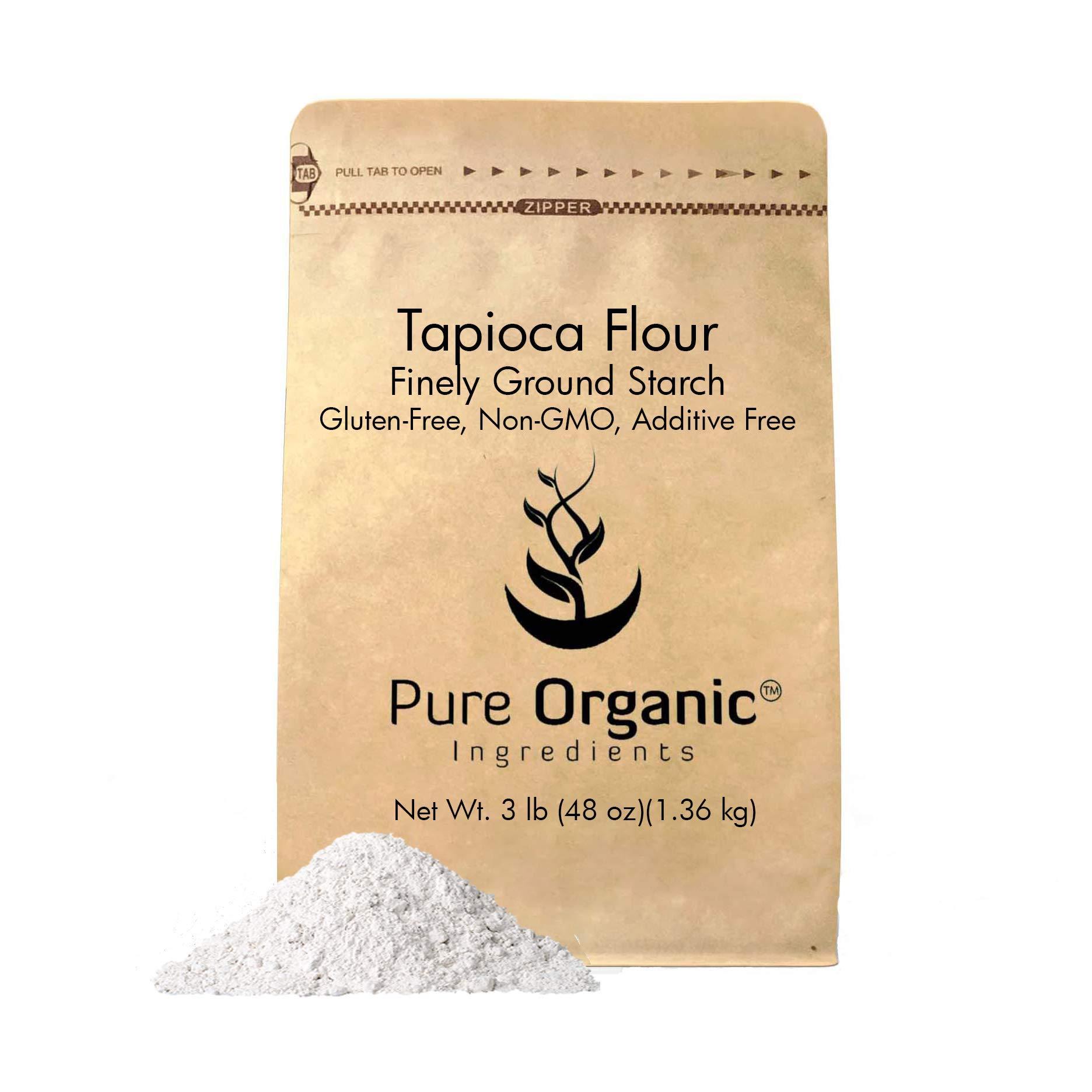 Pure Organic Ingredients Tapioca Flour, 3 lb. (48 oz.), Resealable Eco-Friendly Packaging, Also Called Tapioca Starch, Fine White Powder, Gluten-Free, Non-GMO
