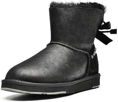 AUMU Womens Shearling Warm Winter Boots