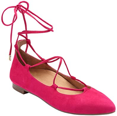63f7b8acaee Vionic Womens Gem Lucinda Lace Up Ballet Flat Pink Size 7