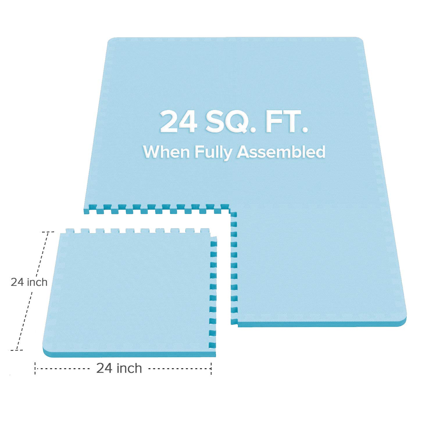 LEVOIT Puzzle Exercise Mat, Premium EVA Foam Interlocking Tiles, Protective Flooring for Gym Equipment and Cushions for Workouts, 24 SQ FT (6 Tiles, 12 Borders) (Blue) by LEVOIT (Image #2)