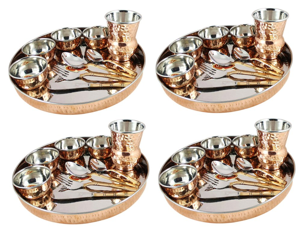 Buy King Traders Designer Traditional Indian Copper Dinner Set/Thali Set- Set of 4 Online at Low Prices in India - Amazon.in  sc 1 st  Amazon.in & Buy King Traders Designer Traditional Indian Copper Dinner Set/Thali ...