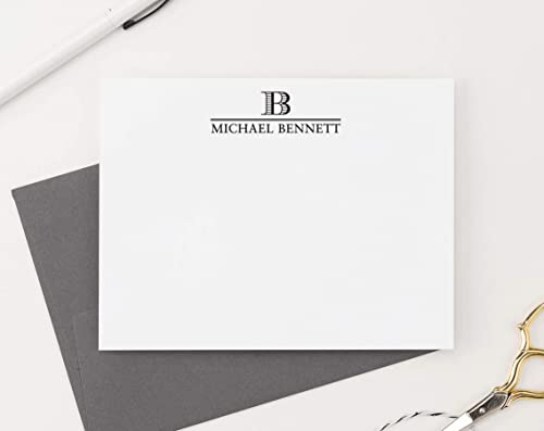 Personalized Notecard Set  Set of Flat Personalized Stationery  Simple Elegant Professional Classy Stationary Cards  ESSENTIALS