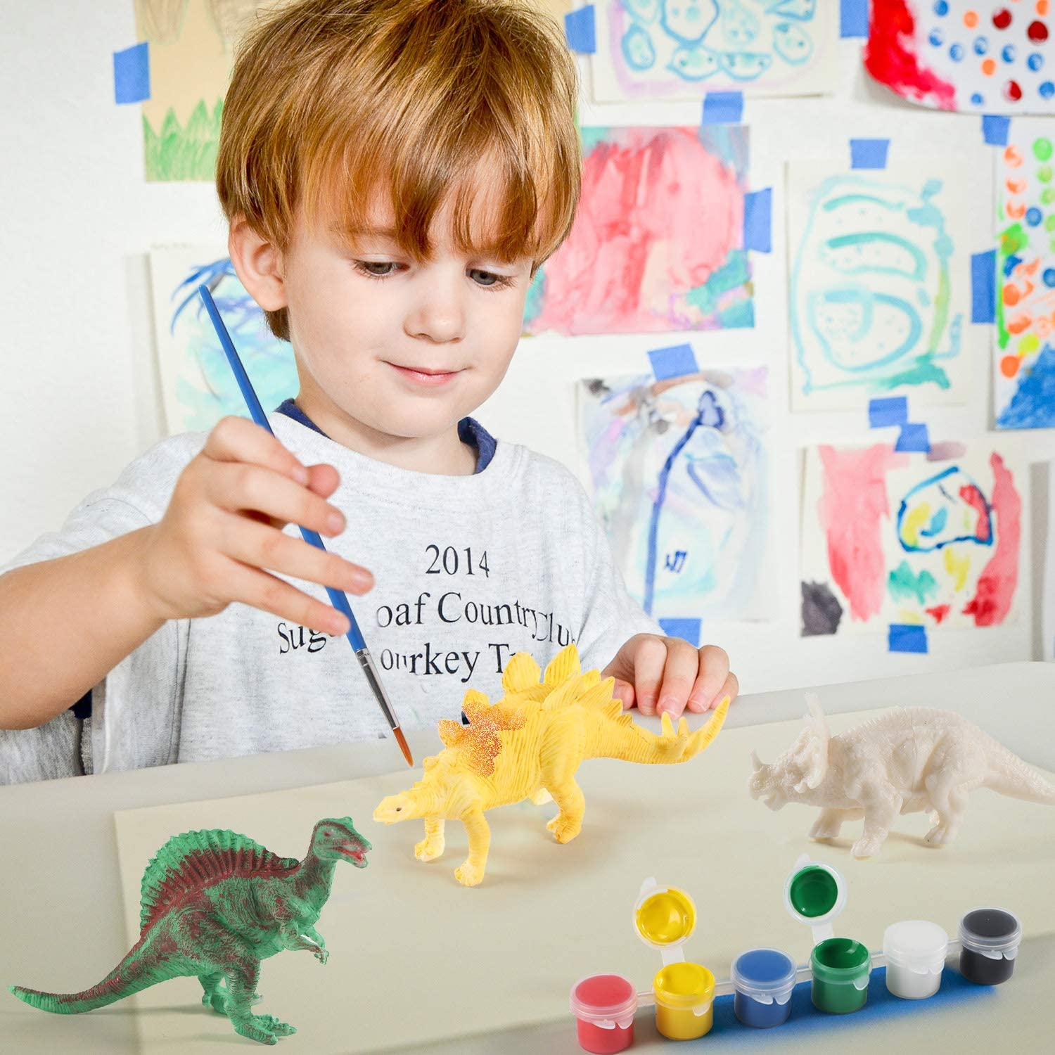 NEOWOWS Kids Crafts and Arts Supplies Set Painting Kit Decorate Your Own Dinosaur Figurines DIY Dinosaur Arts Crafts 3D Painting Dinosaurs Toys for Kids Boys Girls Age 4 5 6 7 8 Years Old