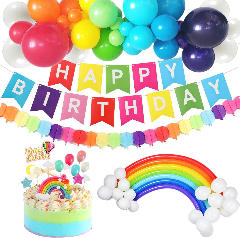 X 1 RAINBOW LOCKDOWN HAPPY BIRTHDAY PARTY WALL BANNER KIDS