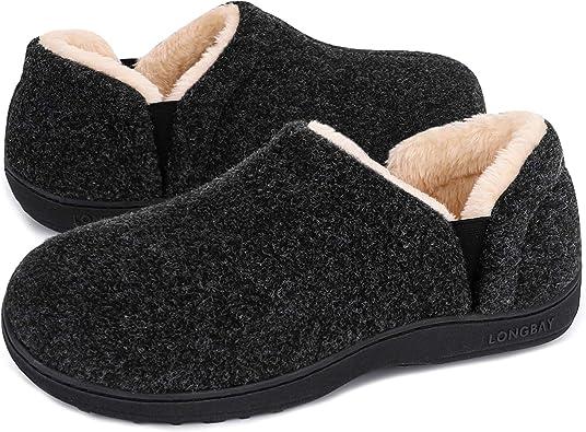 LongBay Men's Cozy Memory Foam Slippers