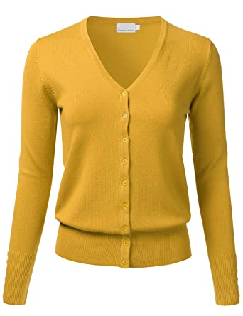 805564ec0e083e FLORIA Women s Button Down V-Neck Long Sleeve Soft Knit Cardigan Sweater  Mustard S