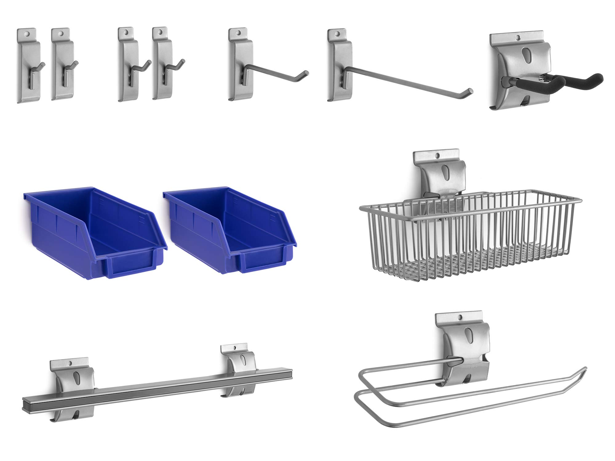 NewAge Products 12-Piece Steel Slatwall Accessory Kit, Garage Wall Organizers, 51720 by NewAge Products Inc.