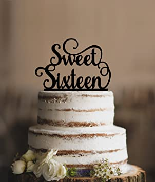 Elegant Sweet Sixteen Birthday Topper Script Cake Customizable Colors Gift For Women Men Party Decorations Toppers