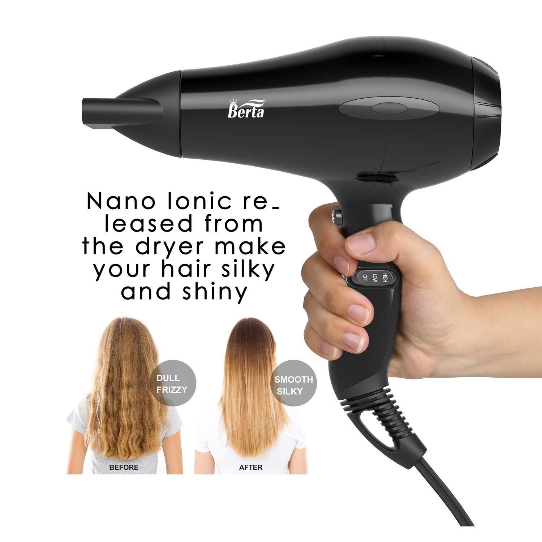 Berta Hair Dryer, Professional Ionic Salon Hair Dryer, Powerful 1875 watt Ceramic Tourmaline Blow Dryer, Quiet Hair dryer with Diffuser & 2 Concentrator Nozzle & Comb Attachments - Black