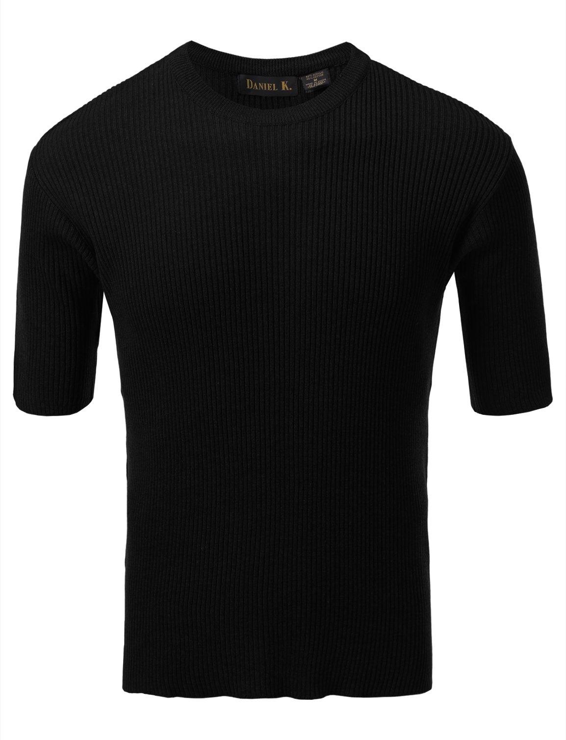 7 Encounter Men's Crewneck Short Sleeve Small Ribbed Sweater Black M