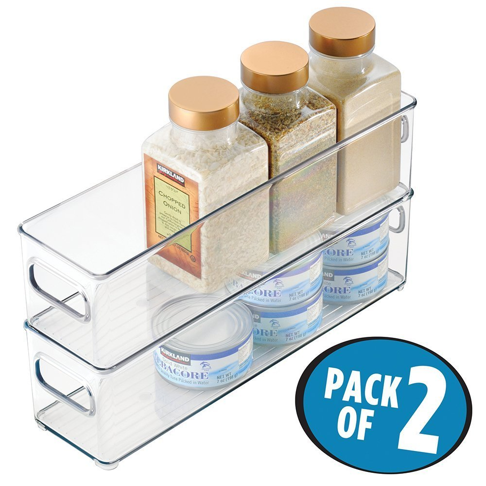 mDesign Refrigerator, Freezer, Pantry Cabinet Organizer Bins for Kitchen - 5 x 5 x 14.5, Clear MetroDecor 6700MDK
