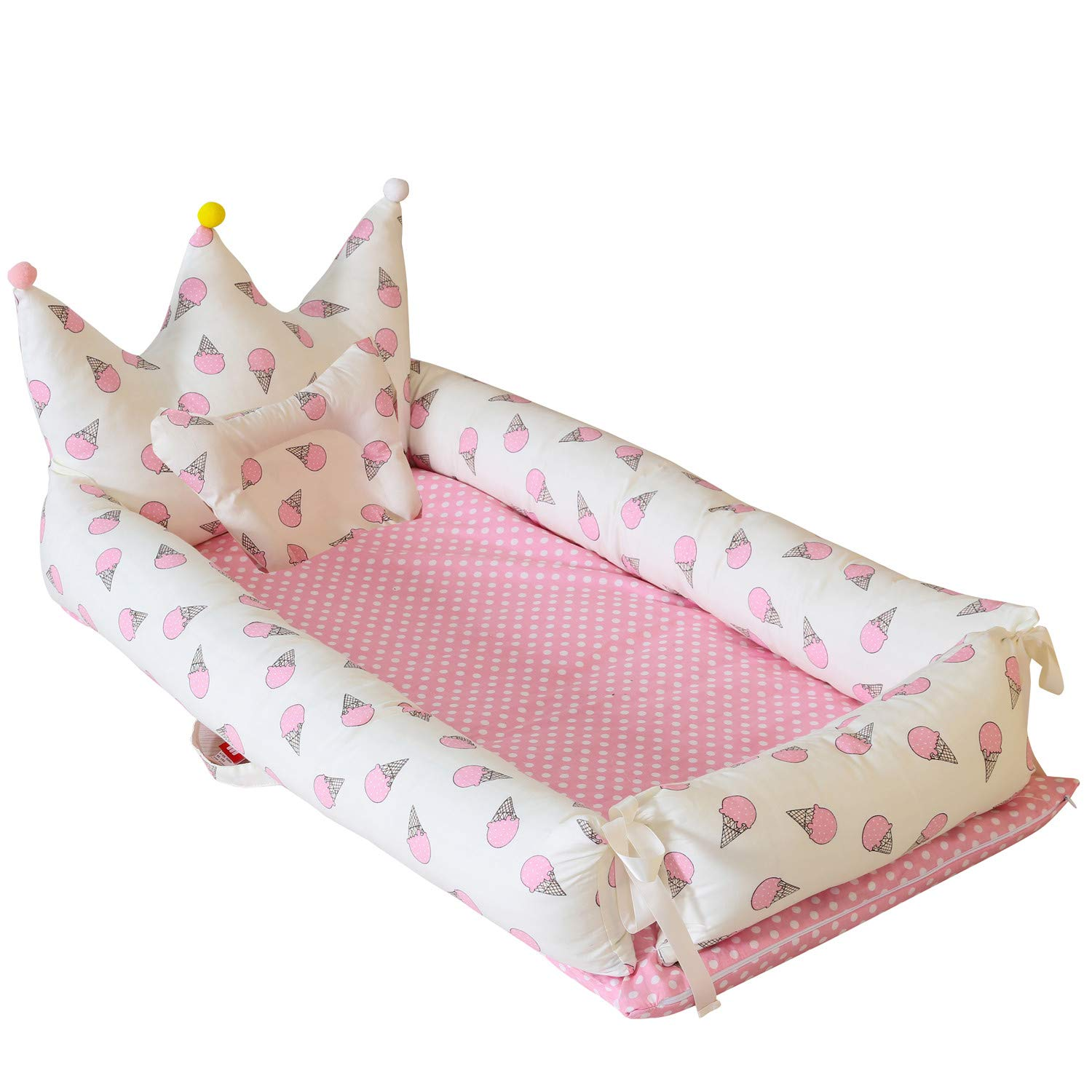Abreeze Baby Bassinet for Bed -Ice-Cream-Pink Baby Lounger - Breathable & Hypoallergenic Co-Sleeping Baby Bed - 100% Cotton Portable Crib for Bedroom/Travel by Abreeze