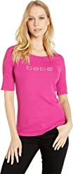 bebe Womens Short Sleeve Lace Sleeve Logo Crew Tee