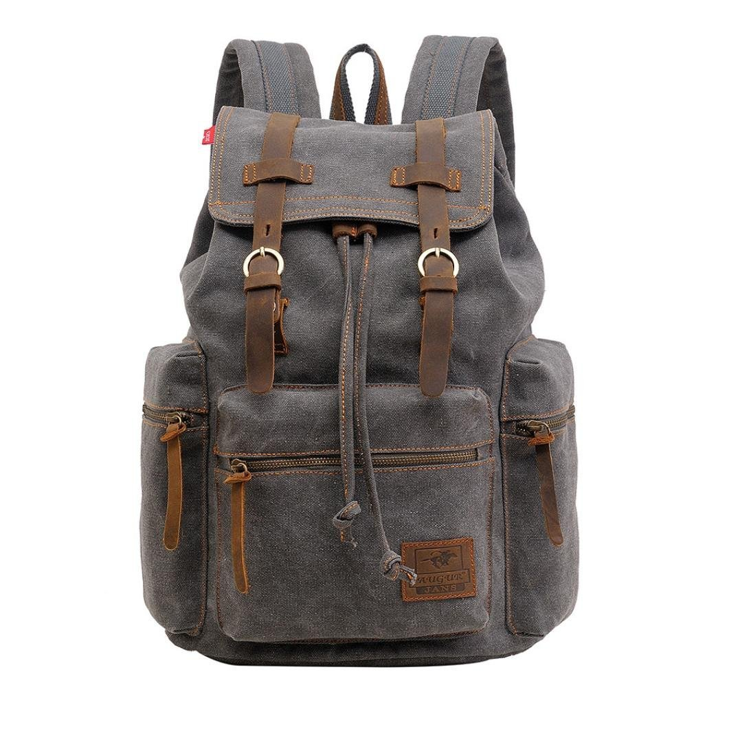 Aobiny Backpack Canvas Backpack Vintage Canvas Bag Hiking Backpack (Gray)