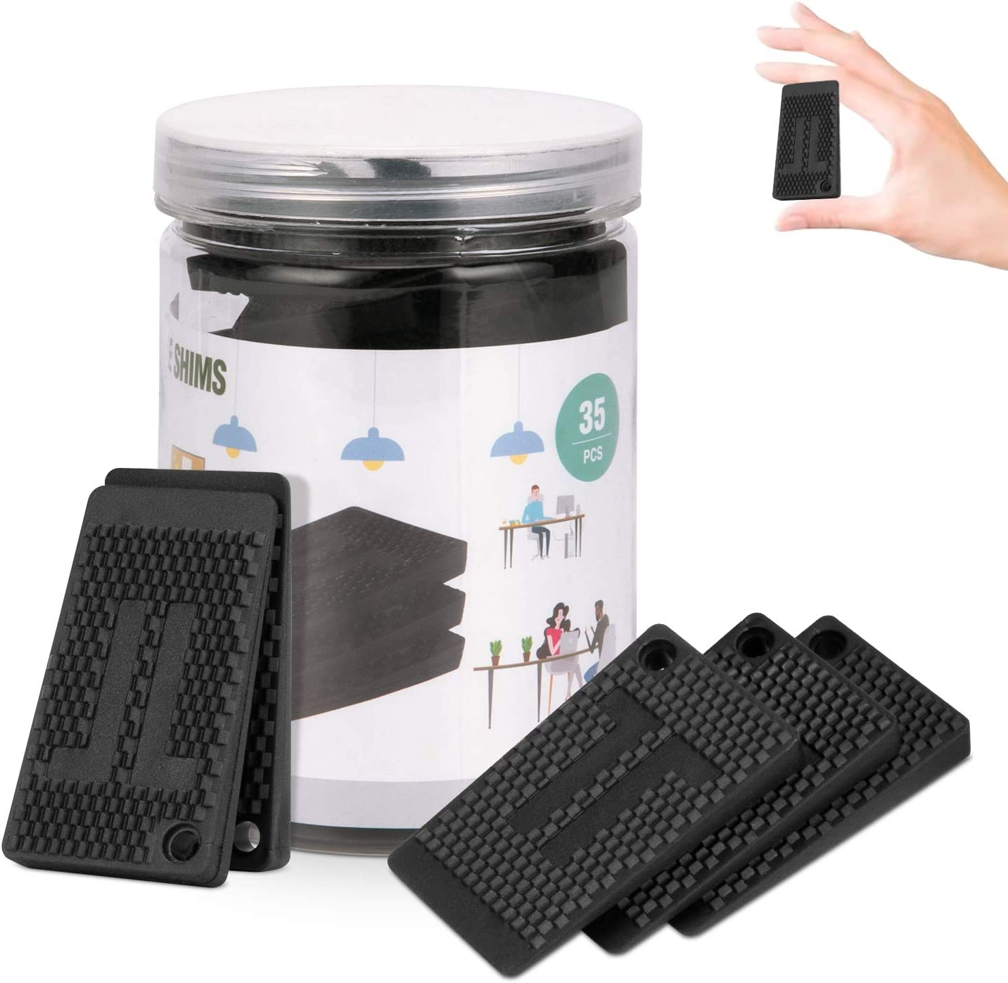 Plastic Shims,Furniture Levelers,Strong and Durable DIY Waterproof Rubber Feet Have Extreme Weight Capacity - Ideal Table Shims Non Slip for Furniture, Table, Chair, Cabinet,Table Leg,Toilet (A)