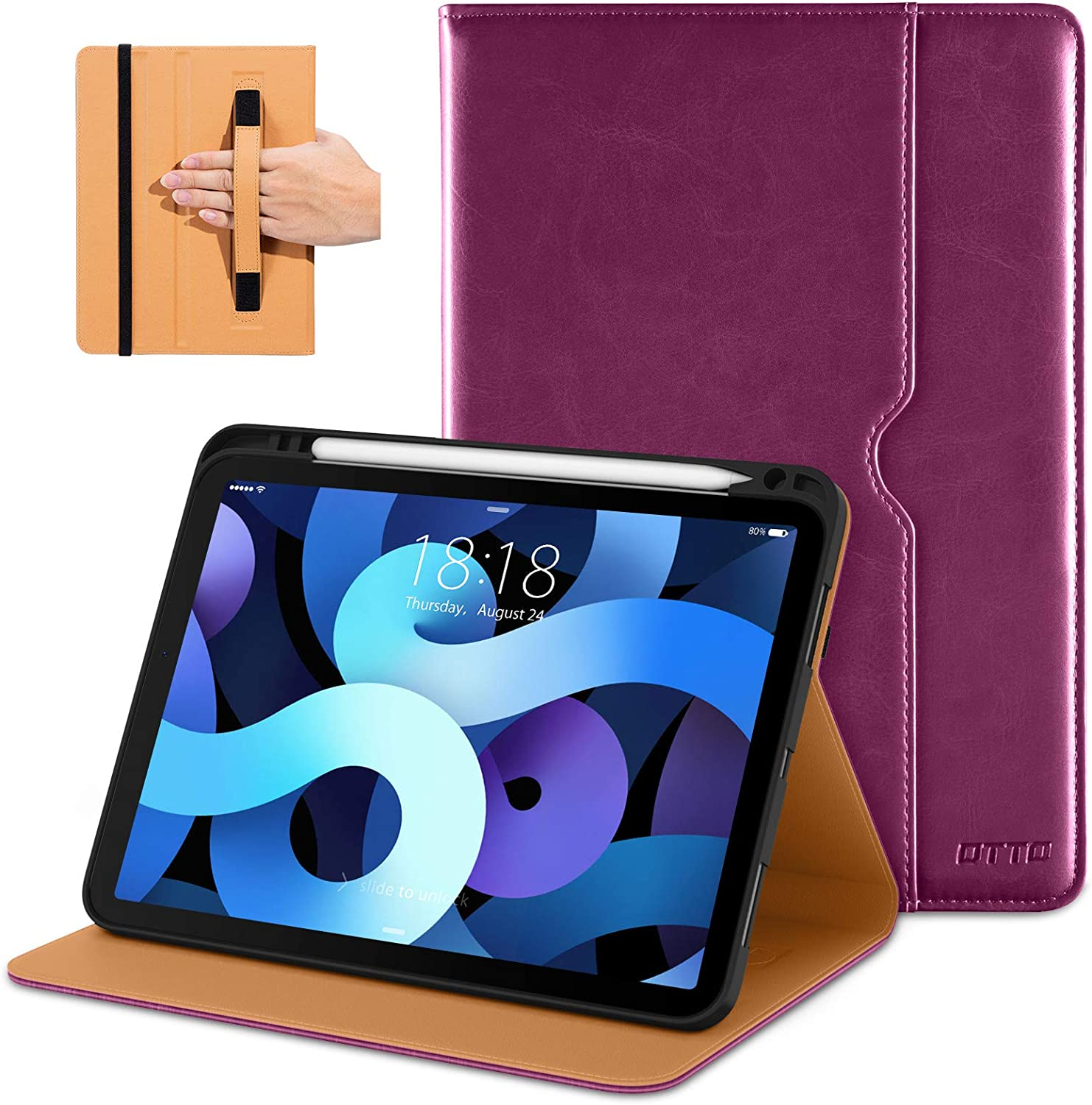 DTTO Compatible with iPad Air 4 Case, Premium Leather Business Folio Stand Cover with Built-in Apple Pencil Holder - Auto Wake/Sleep and Multiple Viewing Angles for iPad 10.9 Inch 2020, Purple
