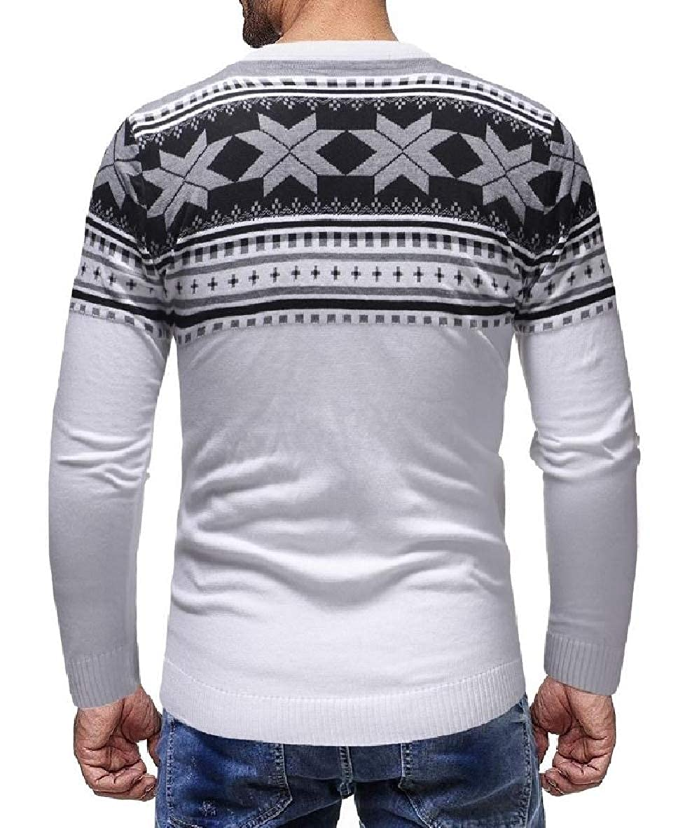 Tootless-Men Christmas Crewneck Knitted Leisure Floral Long-Sleeve Sweater