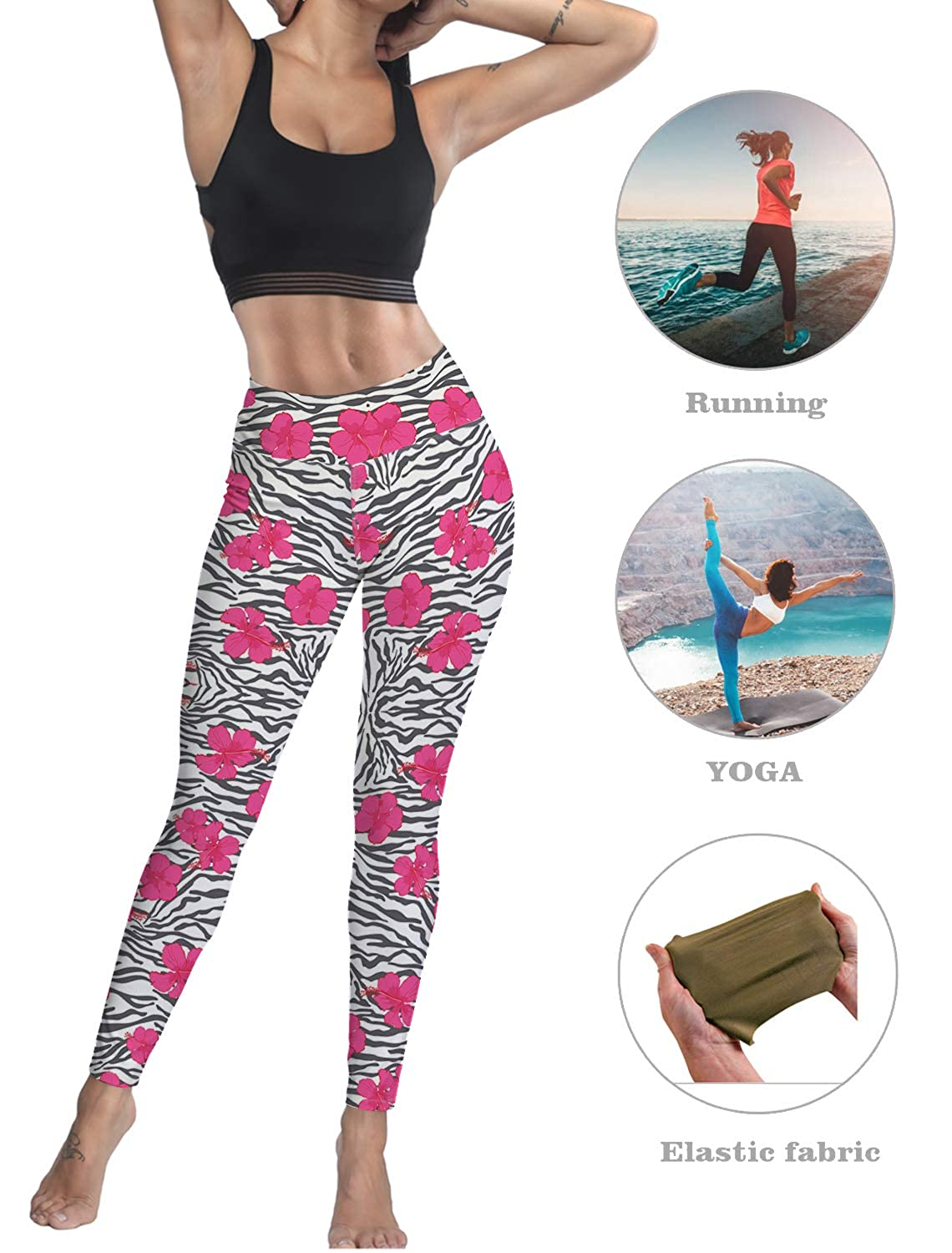 Womens Yoga Pants Workout Leggings High Waisted Capris Tummy Control Gym Running Leggings Animal Leopard Print with Flowers