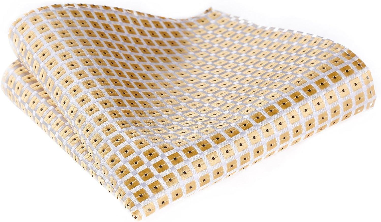 HISDERN Mens Check Wedding Party Pocket Square Handkerchief
