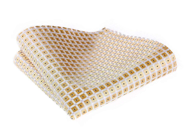 HISDERN Men's Check Dot Wedding Party Pocket Square Handkerchief HD601B