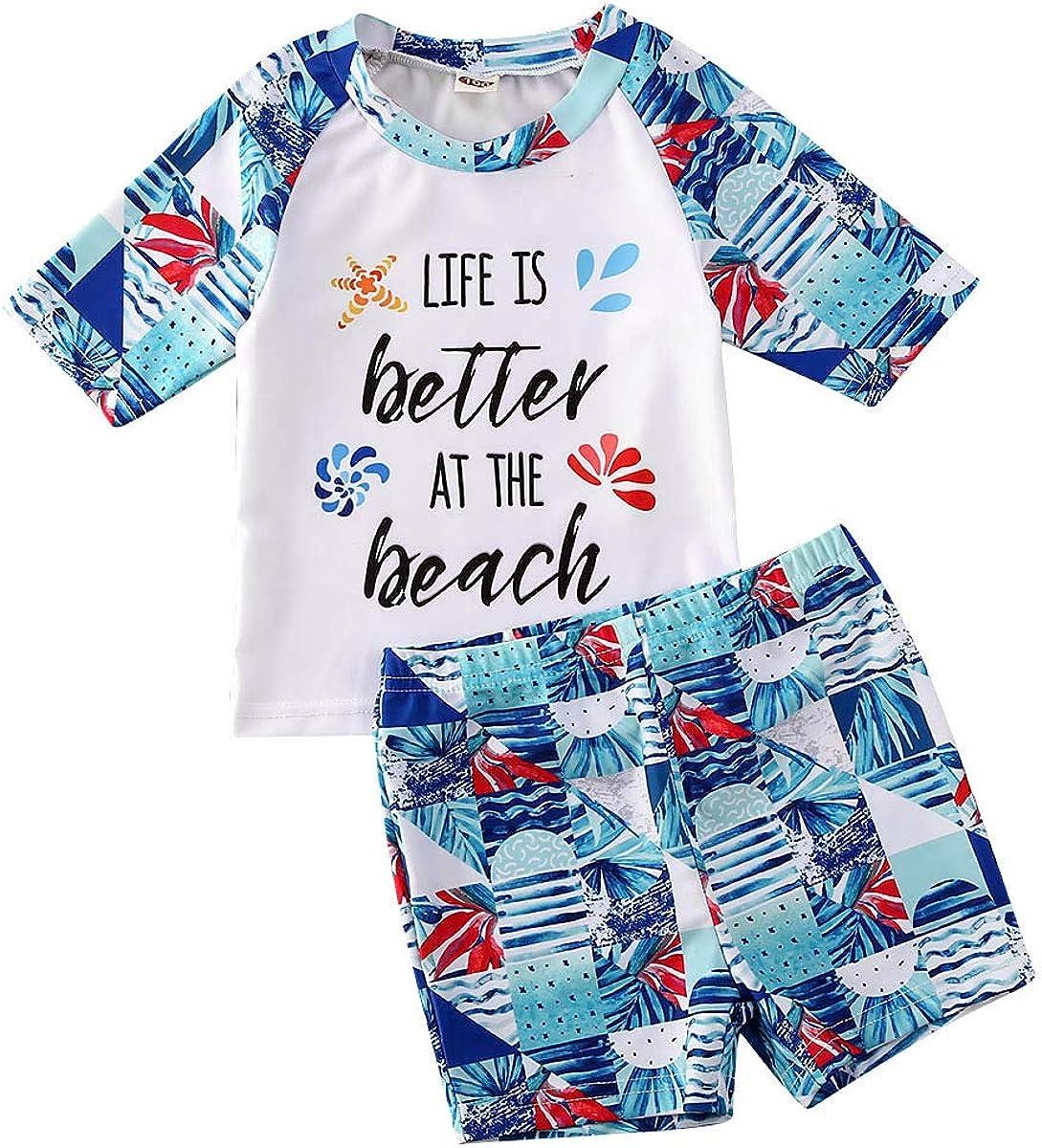 MSDMSASD Toddler Baby Boy Swimsuit 3-Piece Dinosaur Pattern Short Sleeve Top Quick Dry Drawstring Shorts with Hat