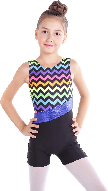 Gymnastics Leotards for Girls One-piece Sparkle Colorful Dancing Athletic Biketards 2-11Years