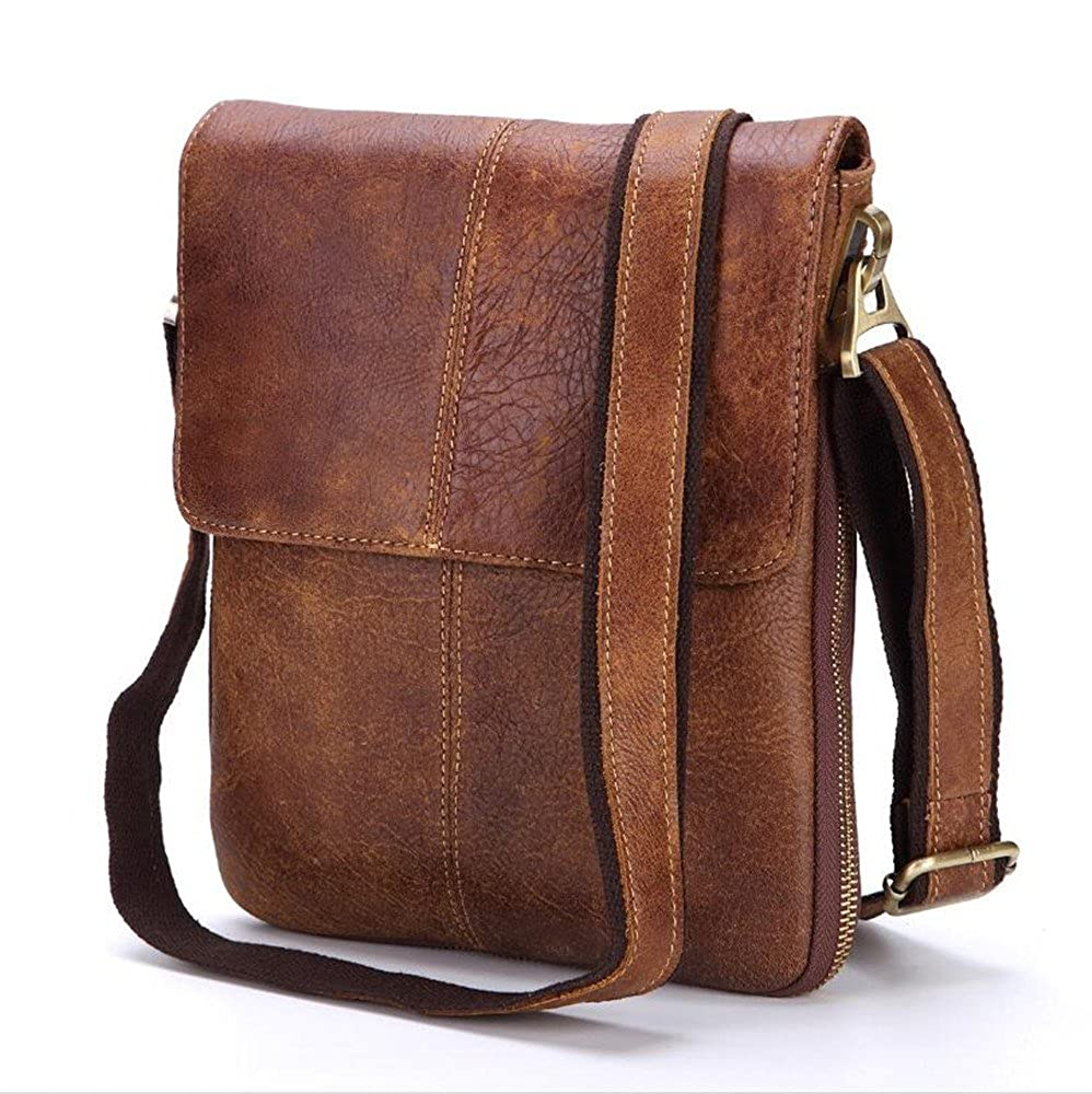 Retro Crossbody Mens leather shoulder bag casual messenger bag business work briefcase vertical small bag