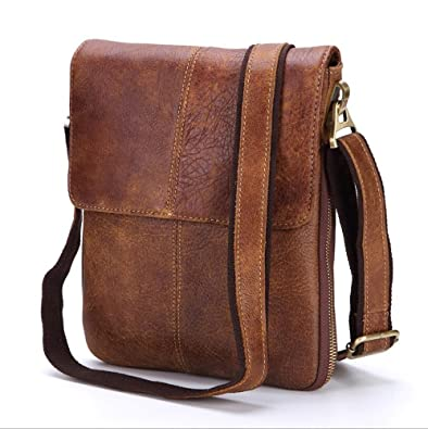 Retro Crossbody Men s leather shoulder bag casual messenger bag business  work briefcase vertical small bag ( e96432e167f2c