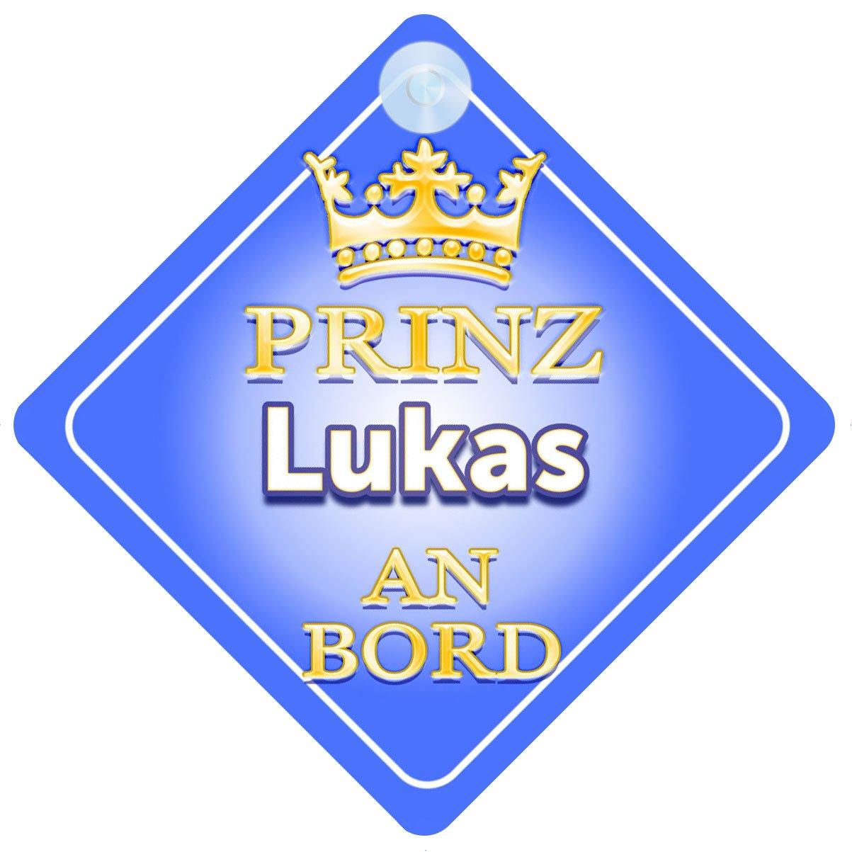 Baby on Board Autoschild /… Pr/äsentieren Kind Geschenk Prinz Lukas An Bord mit Krone Personalisierte Autokennzeichen Neues Baby Junge