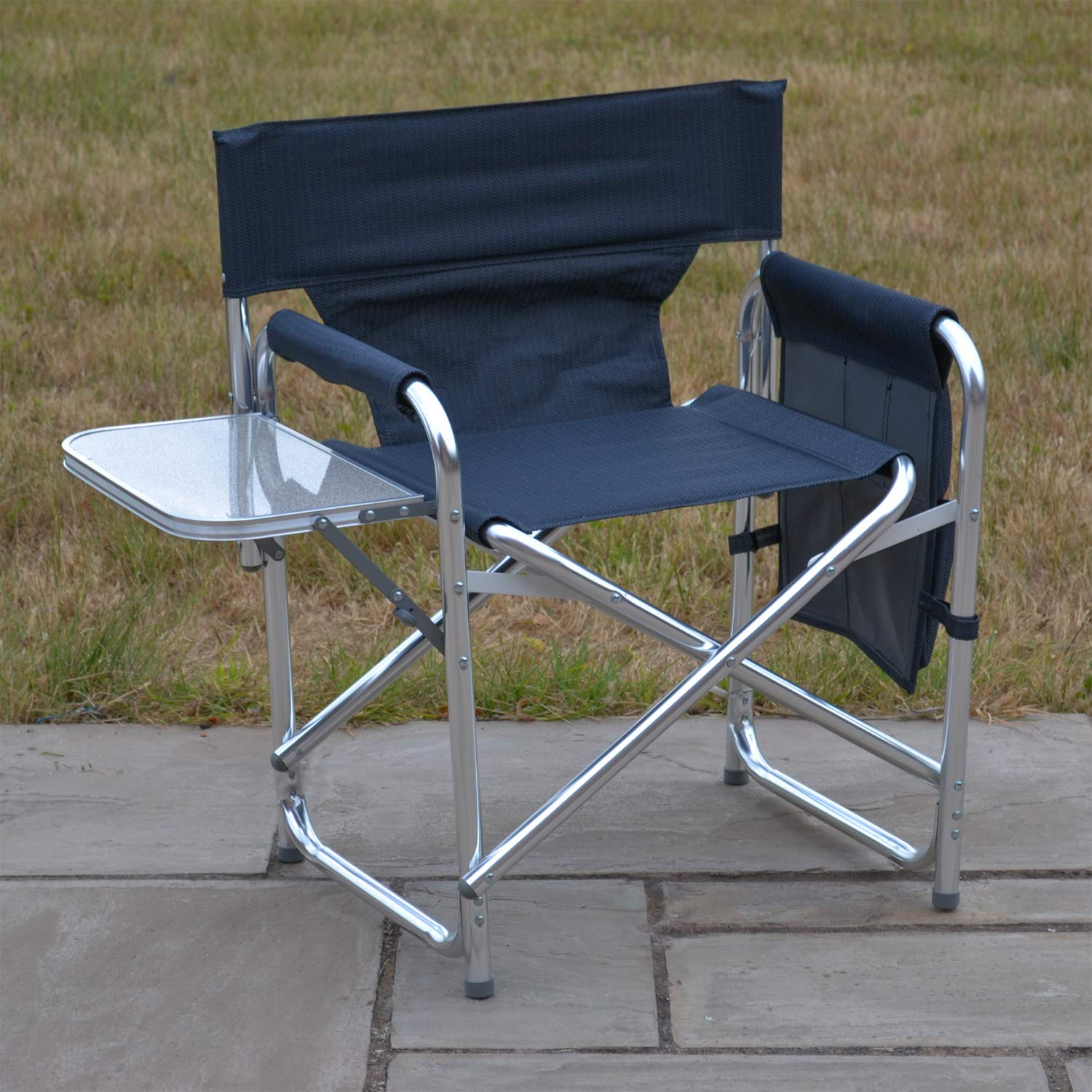 With Folding Side Table And Side Pockets Strong Sturdy Solid Aluminium Frame Green Fishing Garden Camping Event Chair Sun Leisure/® Folding Alloy Sports Directors Chair Green//Blue//Black